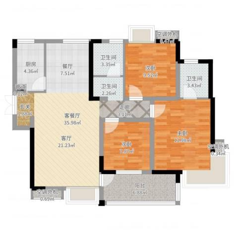 世纪城龙嘉苑3室2厅2卫1厨109.00㎡户型图