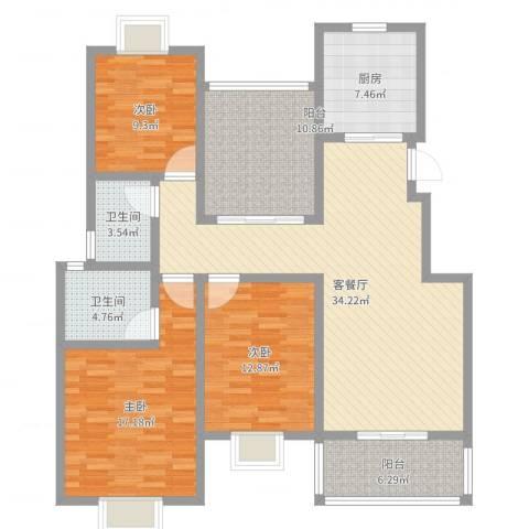 美岸青城幸福里3室2厅2卫1厨133.00㎡户型图