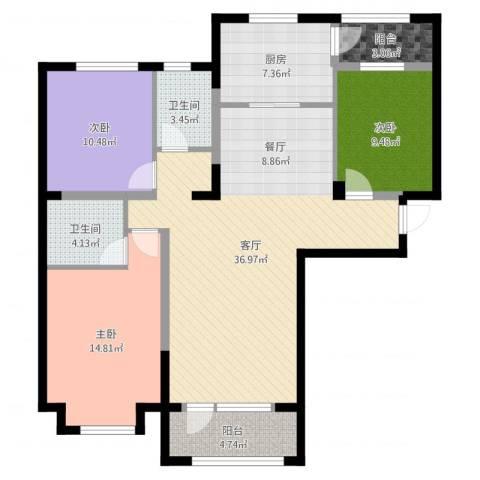 中信城3室1厅2卫1厨118.00㎡户型图