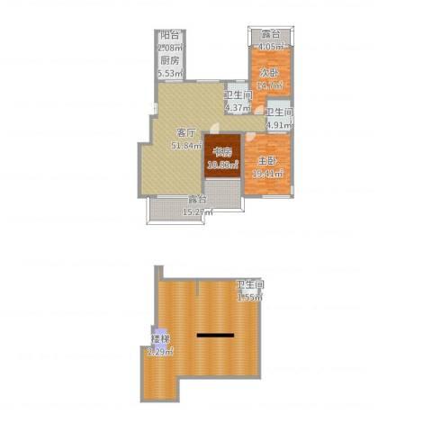 豪邦缇香公馆3室1厅3卫1厨256.00㎡户型图