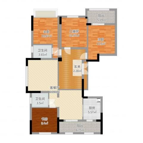 宝业梦蝶绿苑4室2厅2卫1厨139.00㎡户型图