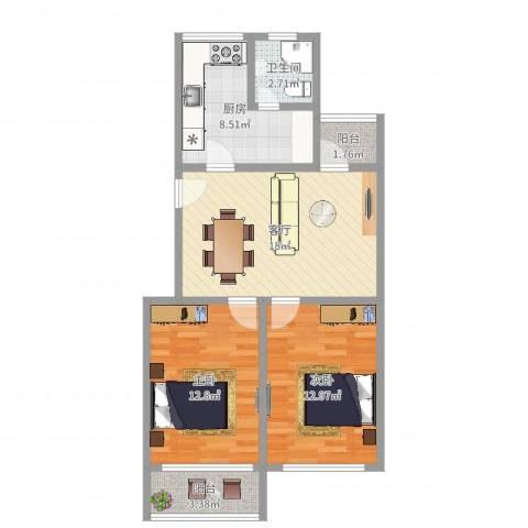 红旗四街坊2室1厅1卫1厨75.00㎡户型图