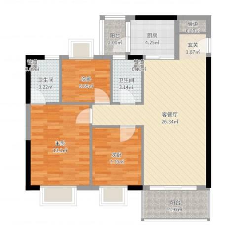 精英名都二期3室2厅2卫1厨89.00㎡户型图