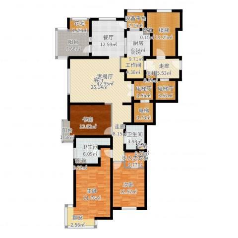 大华清水湾花园三期华府樟园3室2厅2卫1厨193.00㎡户型图