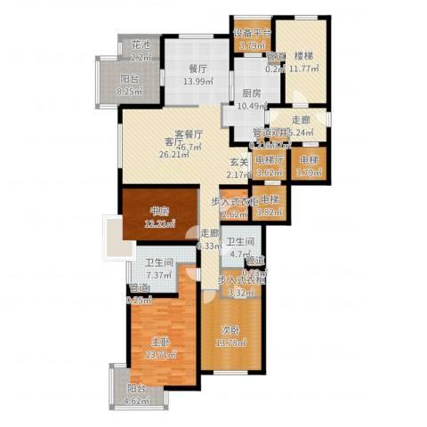 大华清水湾花园三期华府樟园3室2厅2卫1厨211.00㎡户型图