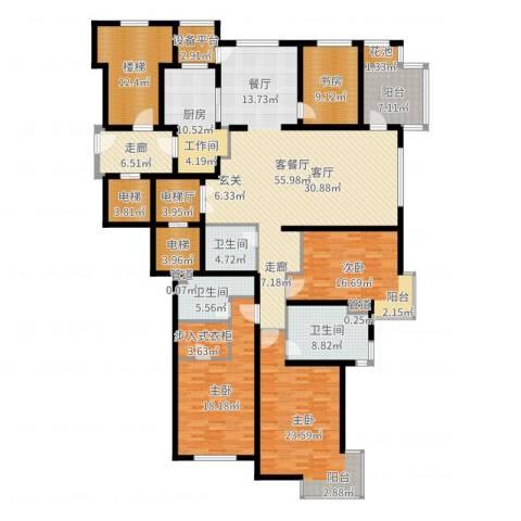 大华清水湾花园三期华府樟园4室2厅3卫1厨249.00㎡户型图