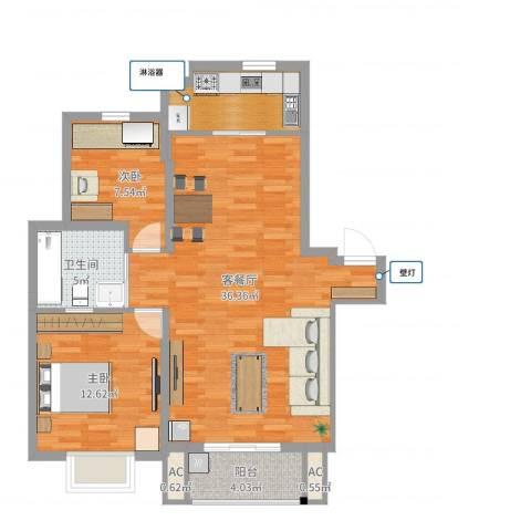 爱庐世纪新苑2室2厅1卫2厨90.00㎡户型图