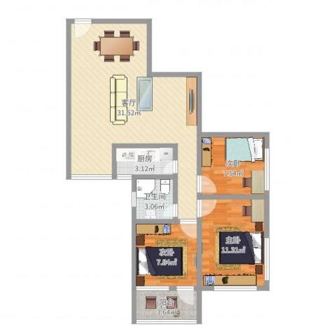 广船沙园五一新村3室1厅1卫1厨68.03㎡户型图
