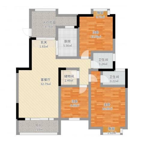 小岛花园城四期3室2厅2卫1厨126.00㎡户型图