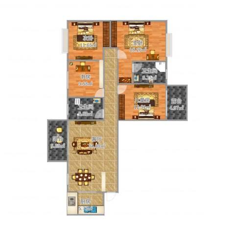 东方国际13栋201罗先生4室1厅2卫1厨142.00㎡户型图
