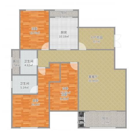 郑州正商红河谷3室2厅2卫1厨153.00㎡户型图