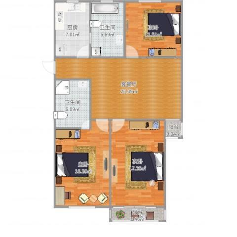 虹康新苑3室2厅2卫1厨115.00㎡户型图