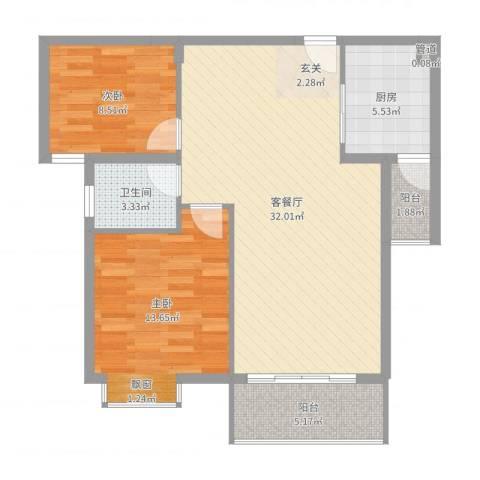 星河花园2室2厅1卫1厨88.00㎡户型图