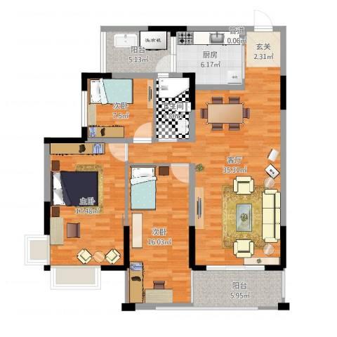 翁江新城3室1厅1卫1厨122.00㎡户型图