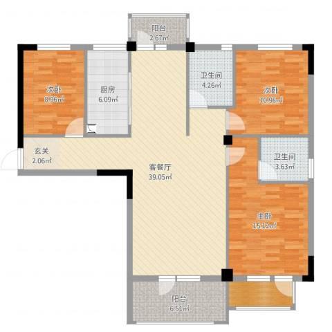 学府丽城3室2厅2卫1厨125.00㎡户型图