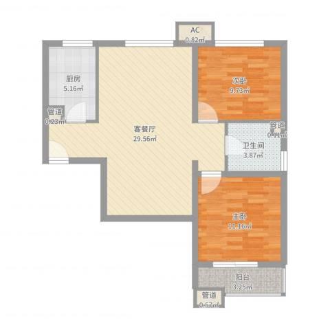 海上纳缇2室2厅3卫3厨81.00㎡户型图
