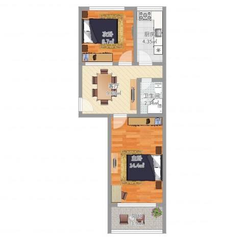 石榴园小区2室1厅1卫1厨54.00㎡户型图