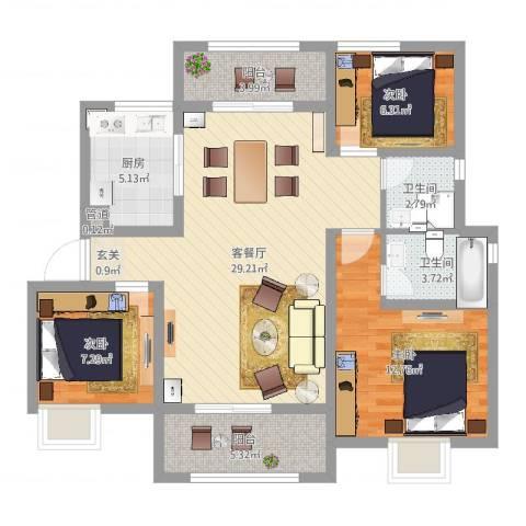 淮海青年城3室2厅2卫1厨96.00㎡户型图