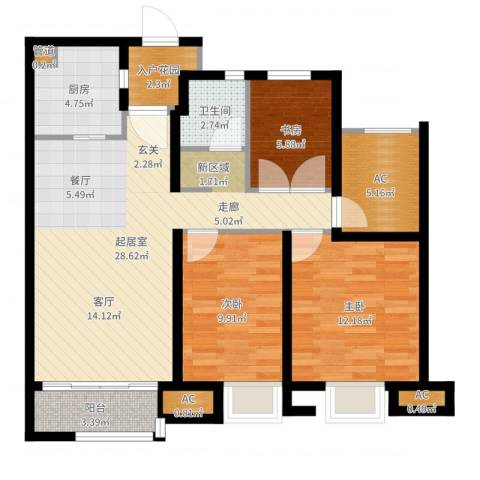 万科蓝山3室1厅3卫3厨96.00㎡户型图