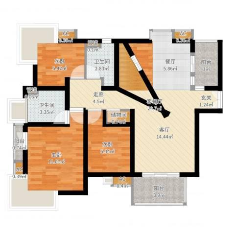 玉兰新村3室2厅2卫1厨86.00㎡户型图