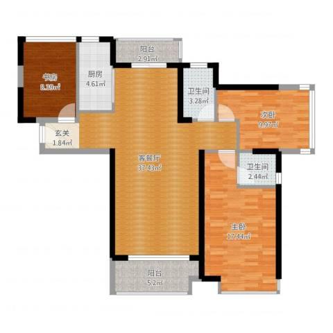 海伦春天3室2厅2卫1厨115.00㎡户型图