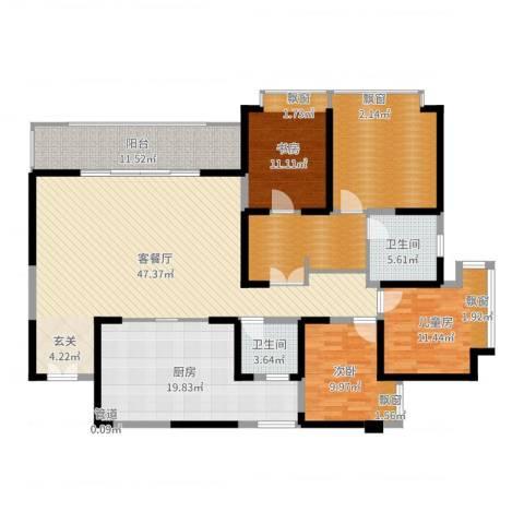 仁和春天国际花园3室2厅5卫1厨181.00㎡户型图