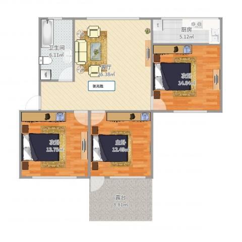 七里河小区3室1厅1卫1厨96.00㎡户型图