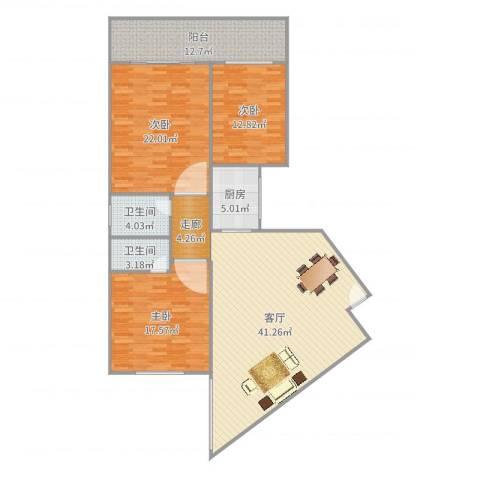 阳鸿新城3室1厅2卫1厨154.00㎡户型图