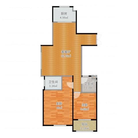 新宏・香榭丽舍2室2厅2卫1厨95.00㎡户型图
