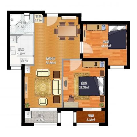 世纪学庭3室2厅1卫1厨72.00㎡户型图