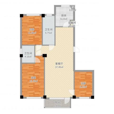 紫金枫尚3室2厅2卫1厨118.00㎡户型图