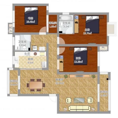 天奇盛世豪庭3室2厅2卫1厨138.00㎡户型图