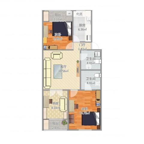 东关北里3室1厅2卫1厨90.00㎡户型图