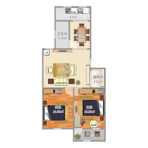机床一厂宿舍2室2厅1卫1厨68.00㎡户型图