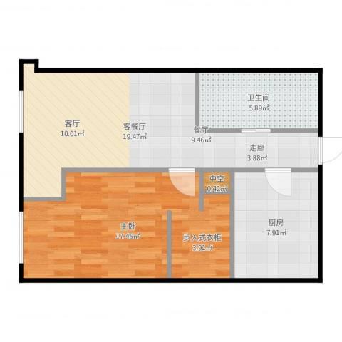 百大绿城西子国际1室2厅1卫1厨64.00㎡户型图