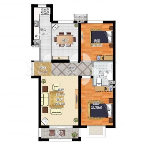 建投・御河新城2室2厅1卫1厨85.00㎡户型图