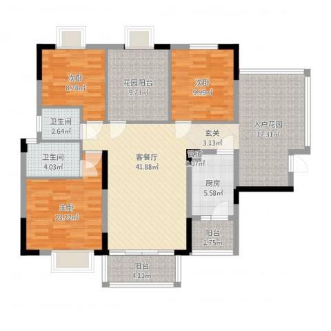 新长江顺心居3室2厅2卫1厨128.00㎡户型图