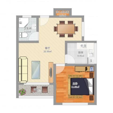 金杨七街坊1室1厅1卫1厨54.00㎡户型图