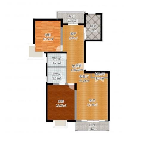 耀江国际广场公寓2室2厅2卫1厨110.95㎡户型图