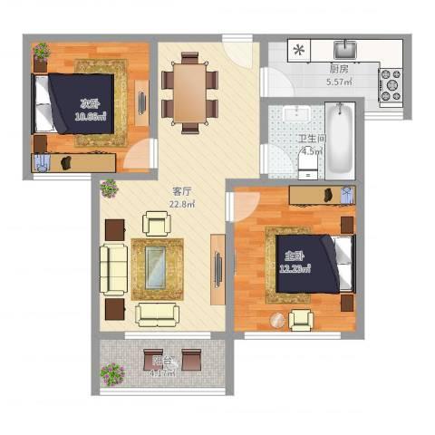 馨佳园六街坊2室1厅1卫1厨75.00㎡户型图