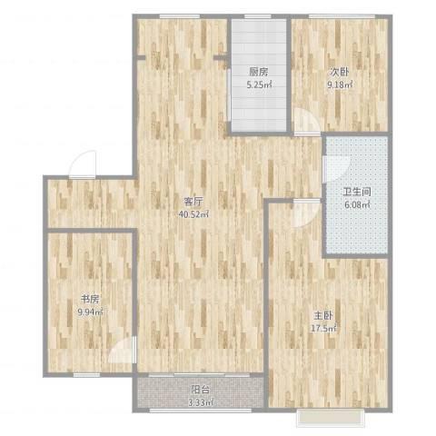 万科水晶城皓石园3室1厅1卫1厨115.00㎡户型图