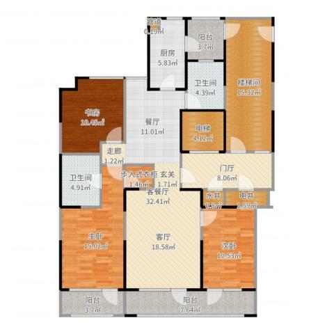 金基尚书里3室2厅2卫1厨163.00㎡户型图