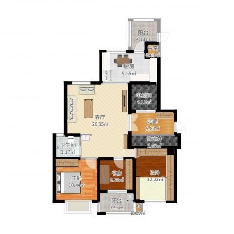 蓝星万象城3室1厅1卫1厨125.00㎡户型图