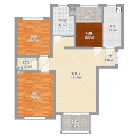 银洲皇家花园3室2厅1卫1厨100.00㎡户型图