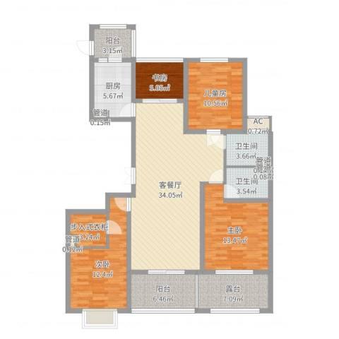 旭辉十九城邦4室2厅2卫1厨137.00㎡户型图