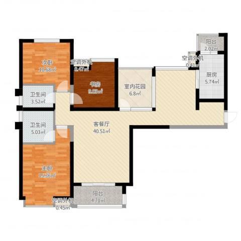 中海东郡3室2厅2卫1厨131.00㎡户型图