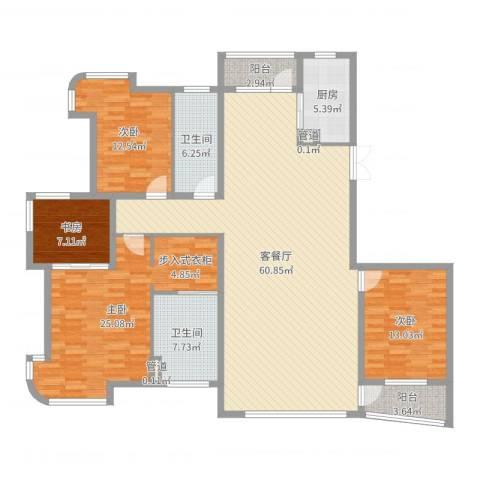 运达嘉洲阳光4室2厅2卫1厨181.00㎡户型图