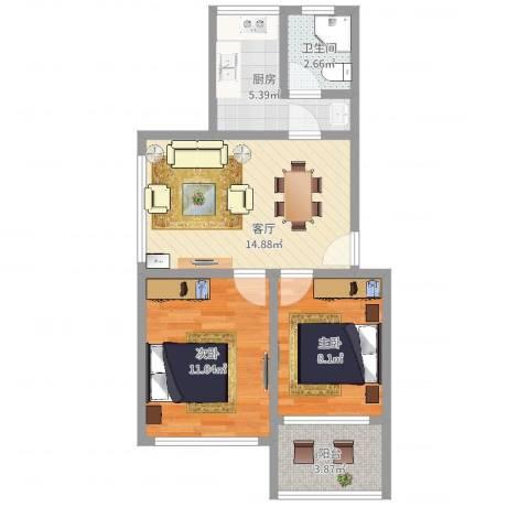 连波路228弄小区2室1厅1卫1厨57.00㎡户型图