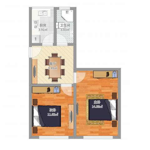 梅园四街坊福沈小区2室1厅1卫1厨51.00㎡户型图