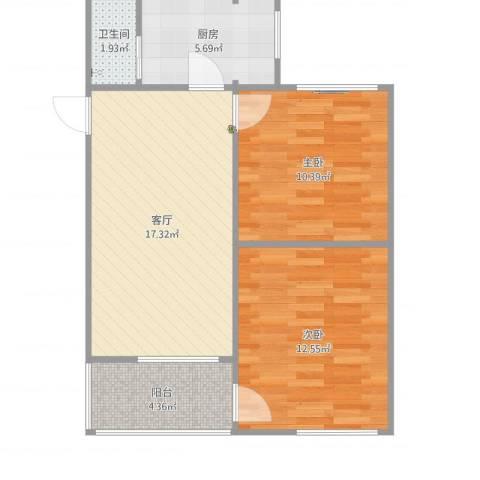 包家巷127号院2室1厅1卫1厨65.00㎡户型图